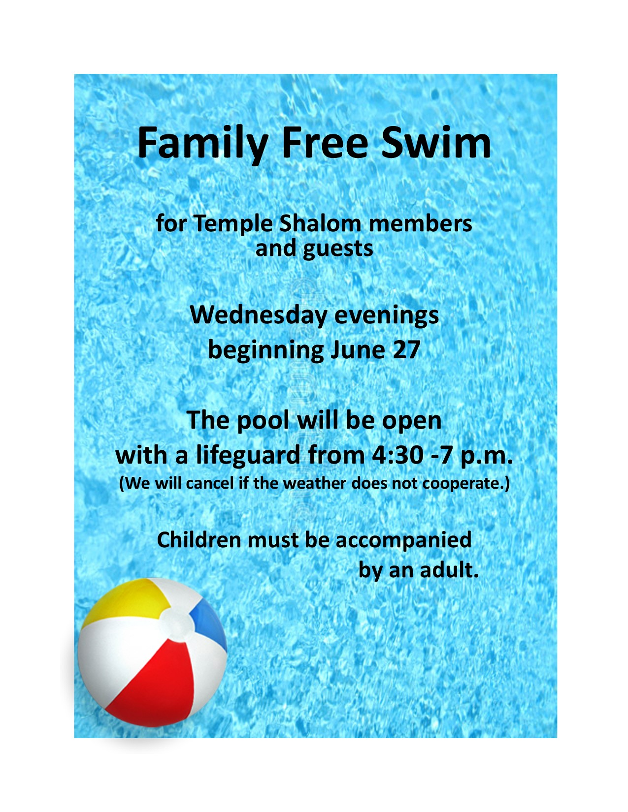 Family Free Swim – Beginning June 27